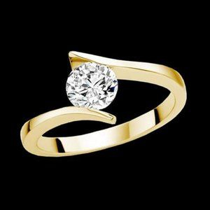 Jewelry - 2.01 ct. round cut diamond solitaire ring YG gorge